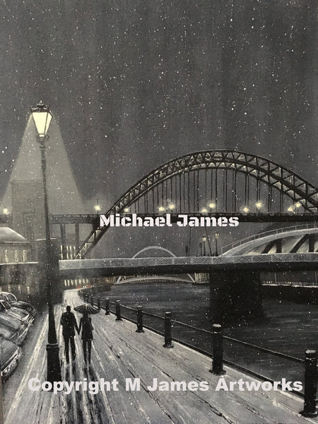 Newcastle Quayside, print, prints, original art, for sale, north east, Michael James,