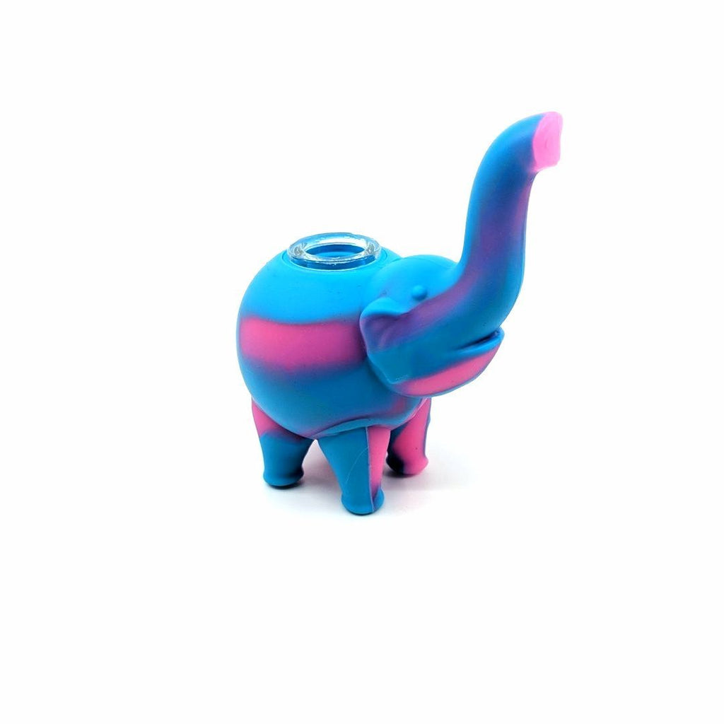 Pipe Pink/Blue Elephant Silicone Pipe 11cm - Assorted Colours