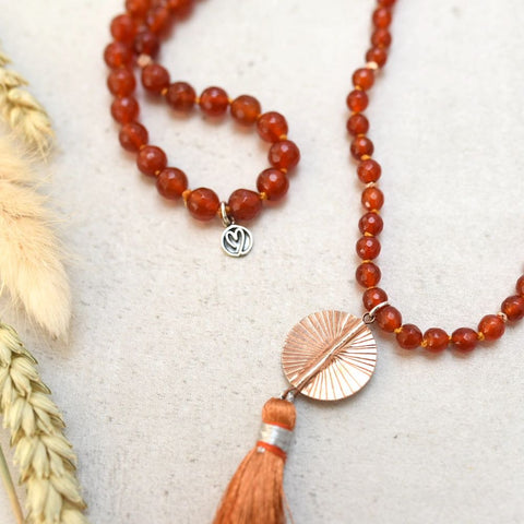 orange gemstone mala