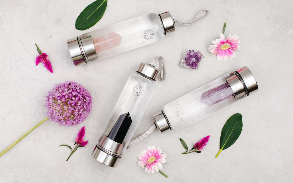 Crystal Water bottles and flowers