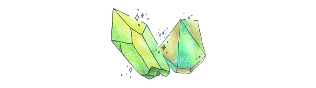 Green gemstones and crystals