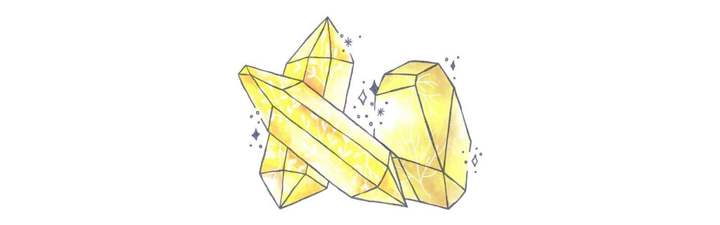 Yellow gemstones and crystals