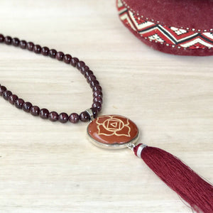 Root Chakra with Garnet beads Gemstone Mala, Manipura - Handmade in Amsterdam