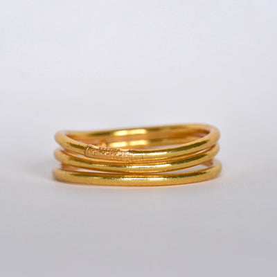 Gold leaf Temple Buddhist Bangles with Love and Lack Mantra - Stack of 3 in Thick Gold