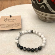 Shades of Grey Gemstone Bracelet, Manipura - Handmade in Amsterdam
