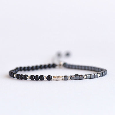 Black Obsidian & Hematite Adjustable Gemstone Bracelet by Manipura Malas at