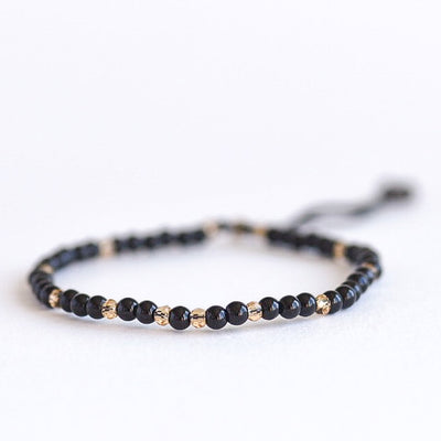 Black Onyx Adjustable Gemstone Bracelet by Manipura Malas at