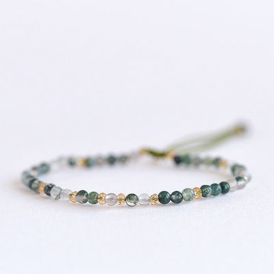 Green Agate Adjustable Gemstone Bracelet by Manipura Malas at