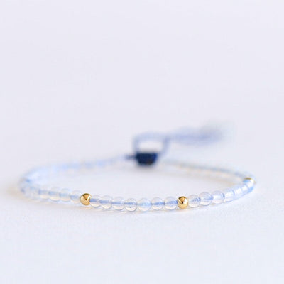 White-Blue Opal Adjustable Gemstone Bracelet by Manipura Malas at