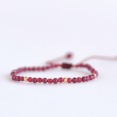 Red Garnet Adjustable Gemstone Bracelet by Manipura Malas at