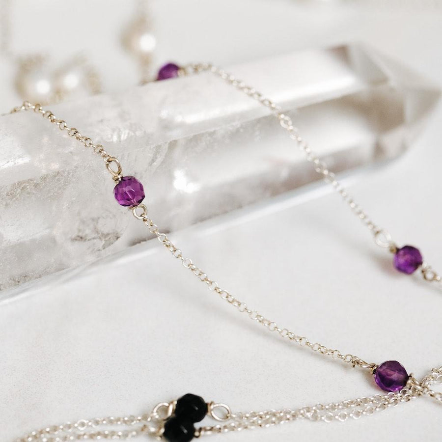 Amethyst Tie Silver Necklace - Handmade in 925 Sterling Silver by Manipura