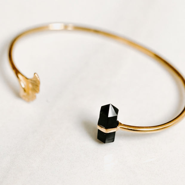 Gold Bangle with Obsidian Ginkgo Flower by Manipura