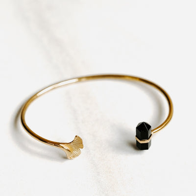 Obsidian Ginkgo Flower Bangle by Manipura Malas at