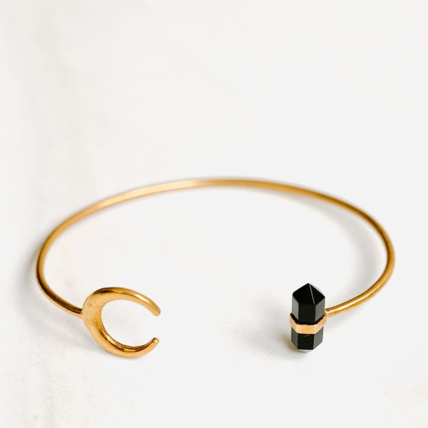 Gold Bangle with Obsidian Crystal and Moon by Manipura