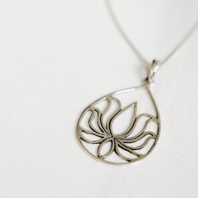 Lotus Flower Silver Necklace - Handmade in 925 Sterling Silver by Manipura Malas at