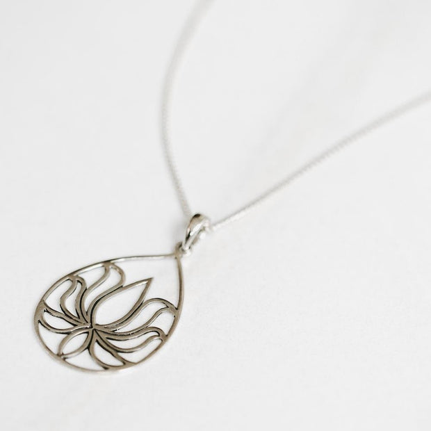 Lotus Flower Silver Necklace - Handmade in 925 Sterling Silver