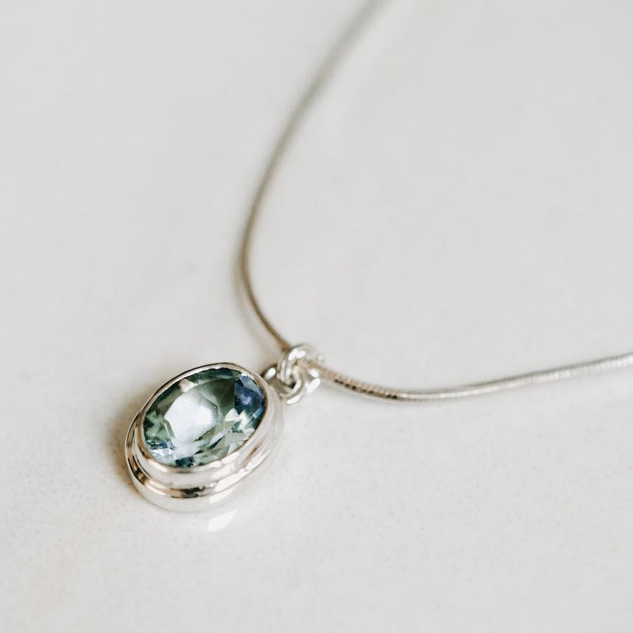 Blue Topaz Pendant Silver Necklace - Handmade in 925 Sterling Silver by Manipura