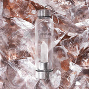 Clear Quartz Crystal water bottle on ice Manipura Rock Your Water