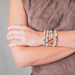 Wrist Gemstone Mala with Jasper, Amazonite and Smokey Quartz, Manipura - Handmade in Amsterdam