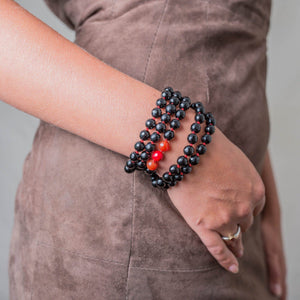 Black Onyx and Red coral Gemstone Mala, Manipura - Handmade in Amsterdam