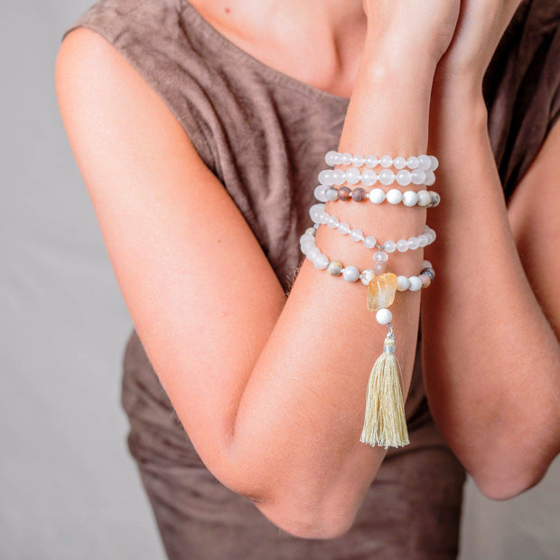 Citrine, White Jade and Jasper Gemstone Mala, Manipura - Handmade in Amsterdam