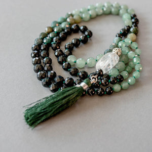 Green Agate and Jade with Black Onyx and Clear Quartz Gemstone Mala, Manipura - Handmade in Ams