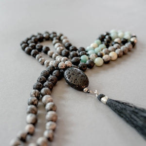 Lava, Labradorite and Amazonite Gemstone Mala, Manipura - Handmade in Amsterdam