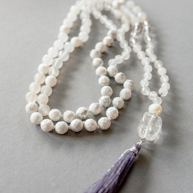 Clear Quartz, White Jade and Howlite Gemstone Mala, Manipura - Handmade in Amsterdam