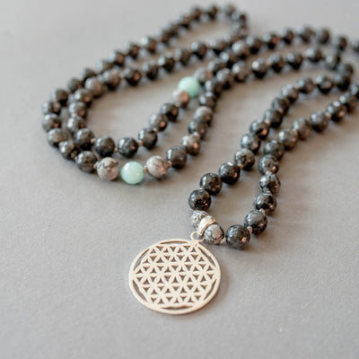 Flower of Life Man Gemstone Mala - Handmade with 108 Mala Beads by Manipura