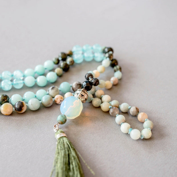 Amazonite and Moonstone Gemstone Mala, Manipura - Handmade in Amsterdam