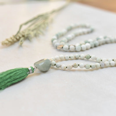 Green-White Jade and Silver 108 beads Gemstone Mala - Handmade with 108 Mala Beads by Manipura