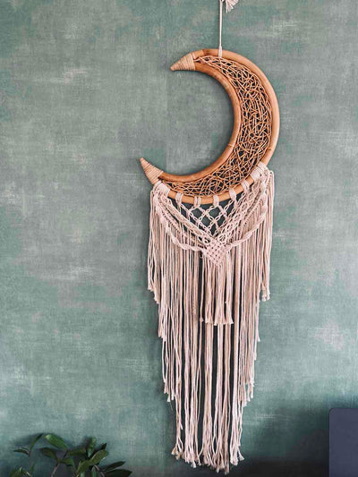 half moon dream catcher with Wicker and Macrame - handmade in Bali