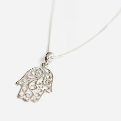 Hamsa Silver Necklace - Handmade in 925 Sterling Silver by Manipura Malas at