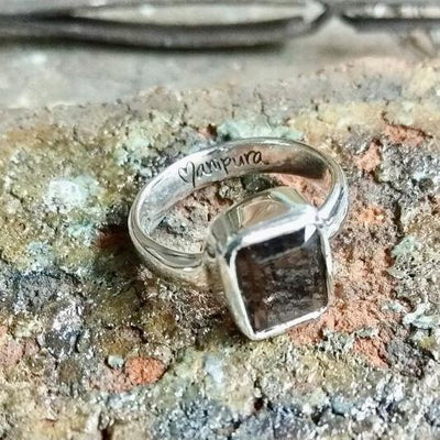 Handmade Smoky Quartz Gemstone Ring by Manipura Malas at 45.00