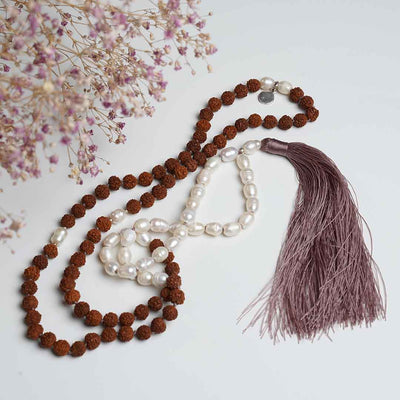 Island Grace Gemstone Mala with Pearls & Rudraksha Beads - Handmade with 108 Mala Beads by Manipura