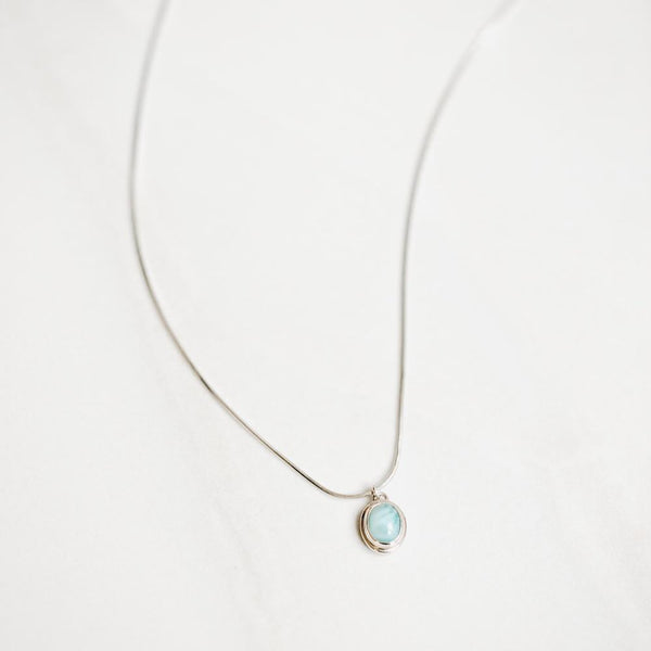 Larimar Pendant Silver Necklace - Handmade in 925 Sterling Silver by Manipura