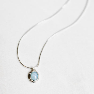 Larimar Pendant Silver Necklace - Handmade in 925 Sterling Silver by Manipura Malas at
