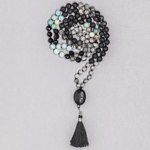Black and Grey Gemstone Mala, Manipura - Handmade in Amsterdam
