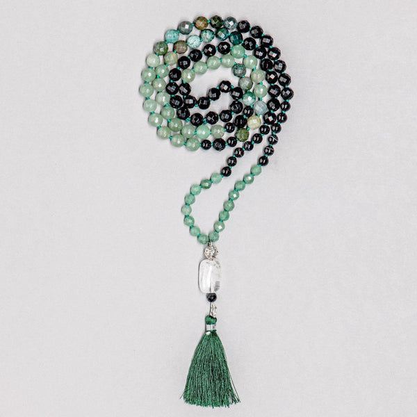 Green Agate and Jade, onyx and Clear Quartz Gemstone Mala, Manipura - Handmade in Amsterdam