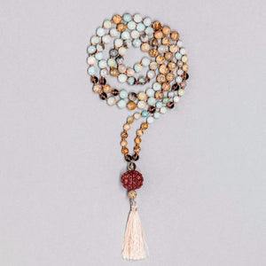 Rudraksha, Jasper, Amazonite and Smokey Quartz Gemstone Mala, Manipura - Handmade in Amsterdam