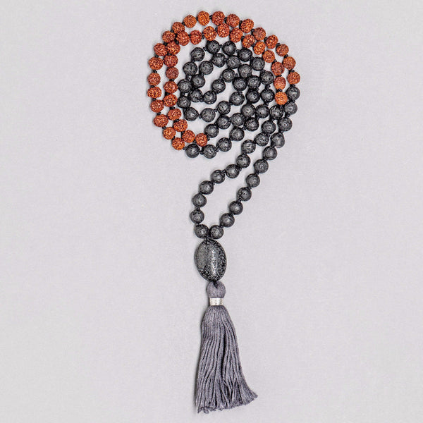 Rudraksha and Lava beads Man Gemstone Mala, Manipura - Handmade in Amsterdam