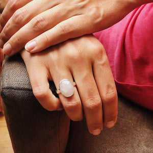 Handmade Rose Quartz Gemstone Ring, Manipura - Handmade in Amsterdam