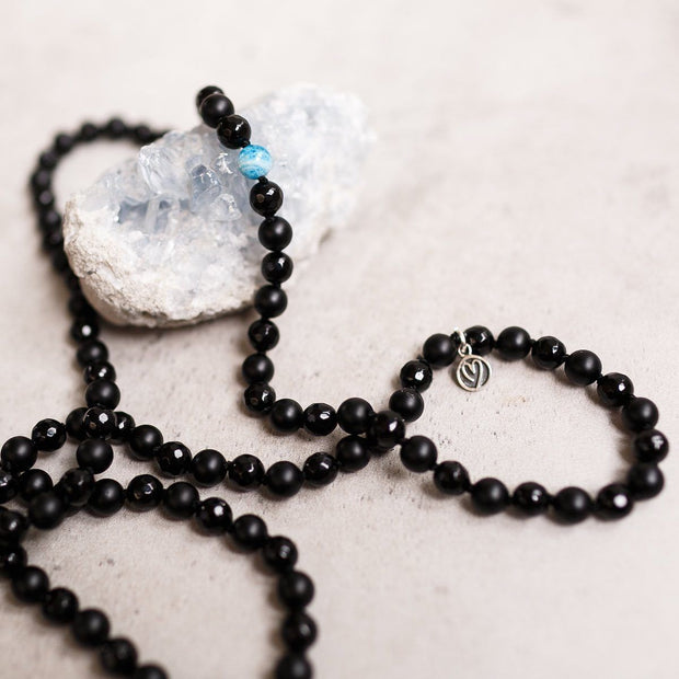 Black Mat Onyx with Blue Apatite beads Gemstone Mala Unisex, Manipura - Handmade in Amsterdam