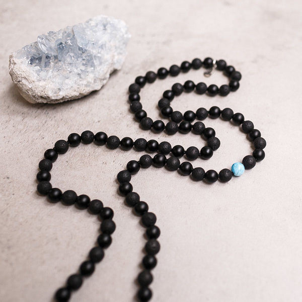 Black Onyx and Blue Apatite beads Gemstone Mala Unisex, Manipura - Handmade in Amsterdam