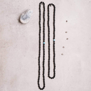 Man and Woman variation of Black Onyx and Apatite Gemstone Mala Unisex, Manipura - Handmade in Ams