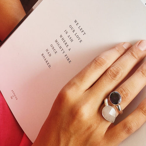 Handmade Rose Quartz & Amethyst Gemstone Ring - Adjustable, Manipura - Handmade in Amsterdam