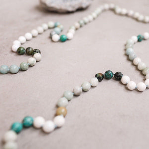 Turquoise, White Jade and Amazonite Gemstone Mala - Limited, Manipura - Handmade in Amsterdam