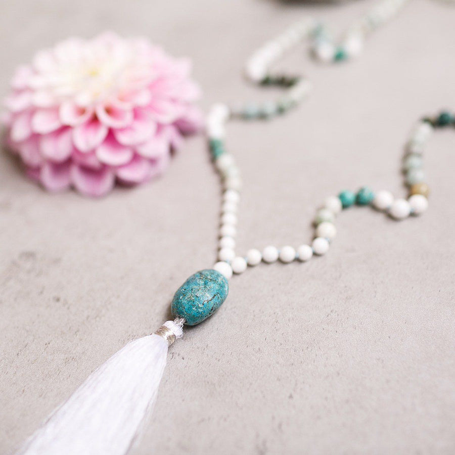 Turquoise and White Jade Gemstone Mala - Limited, Manipura - Handmade in Amsterdam