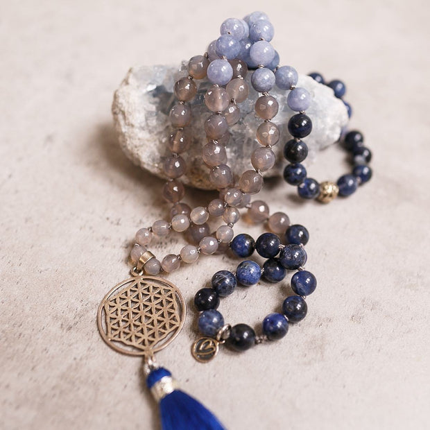 Silver Flower of Life with Grey Agate and Lapis Gemstone Mala, Manipura - Handmade in Amsterdam