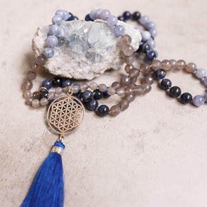 Silver Flower of Life and blue Lapis with Sodalite Gemstone Mala, Manipura - Handmade in Amsterdam